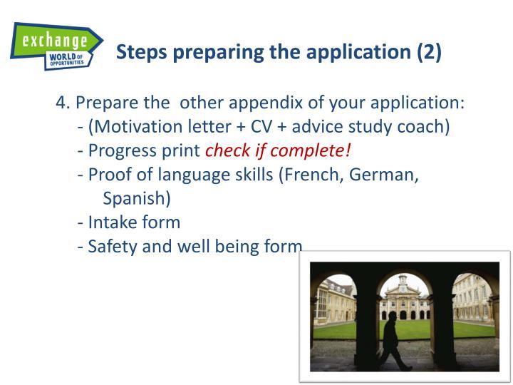 Steps preparing the