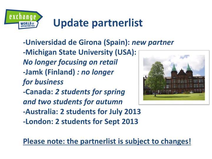 Update partnerlist