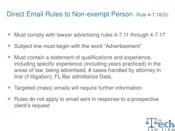Direct Email Rules to Non-exempt Person