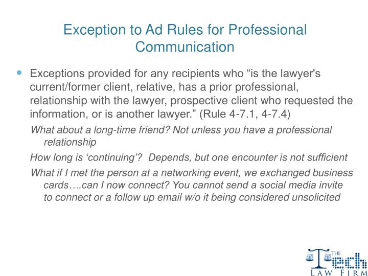 Exception to Ad Rules for Professional Communication
