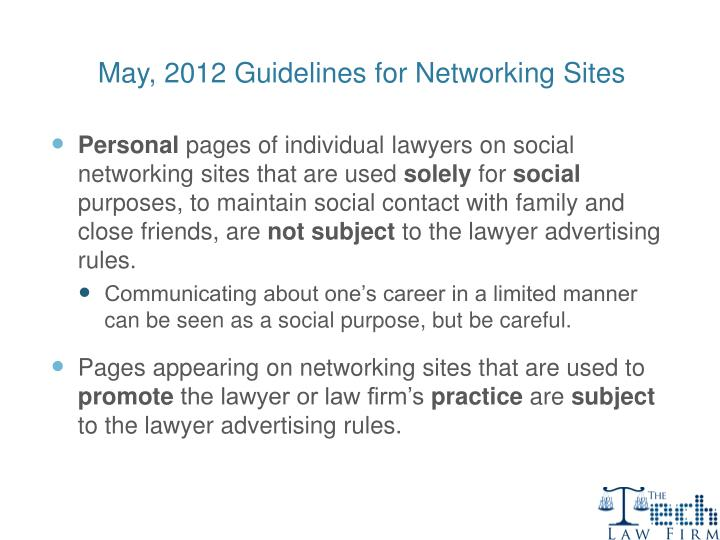 May, 2012 Guidelines for Networking Sites