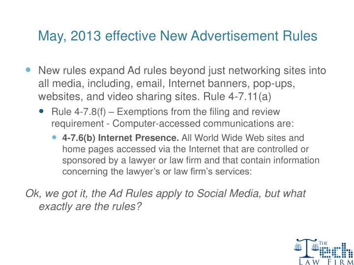May, 2013 effective New Advertisement Rules