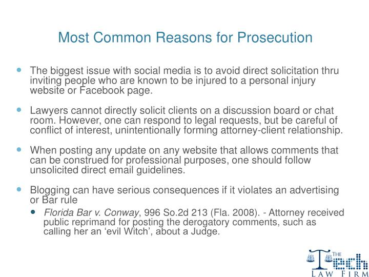Most Common Reasons for Prosecution
