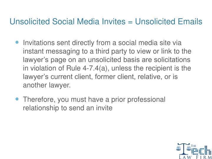 Unsolicited Social Media Invites = Unsolicited Emails