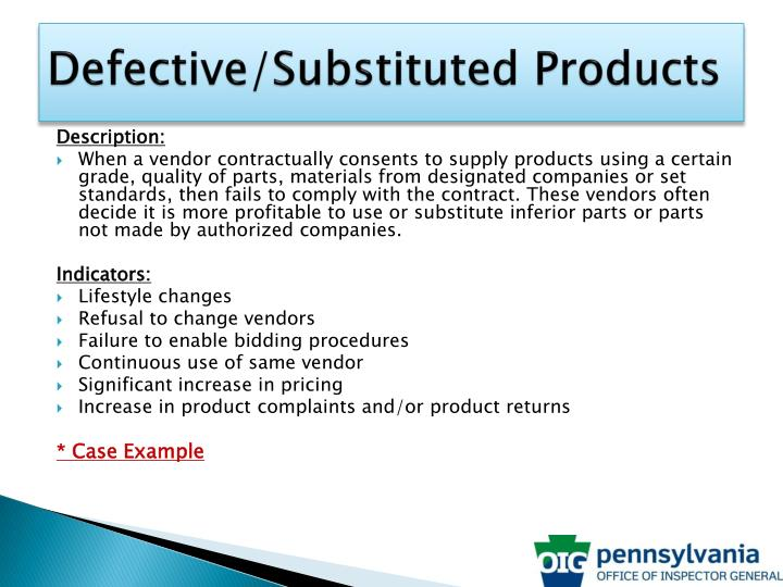Defective/Substituted Products