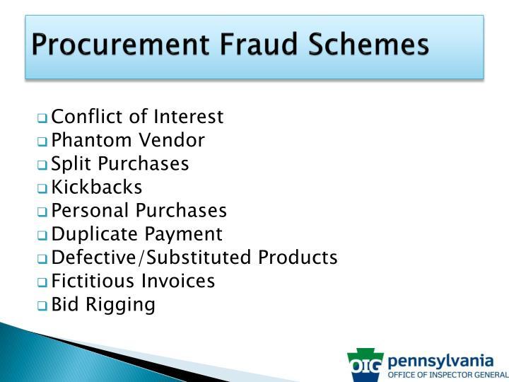 Procurement Fraud Schemes