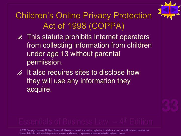 Children's Online Privacy Protection Act of 1998 (COPPA)