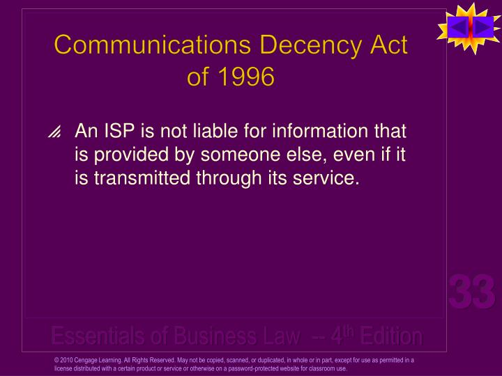 Communications Decency Act of 1996