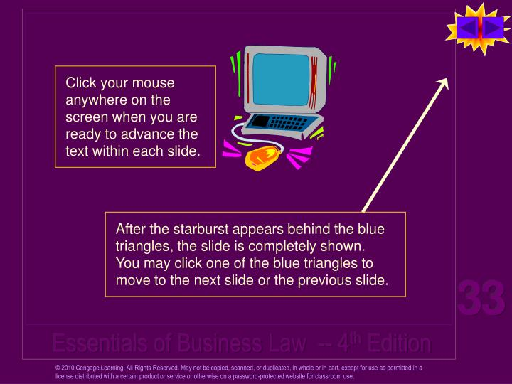 Click your mouse anywhere on the screen when you are ready to advance the text within each slide.