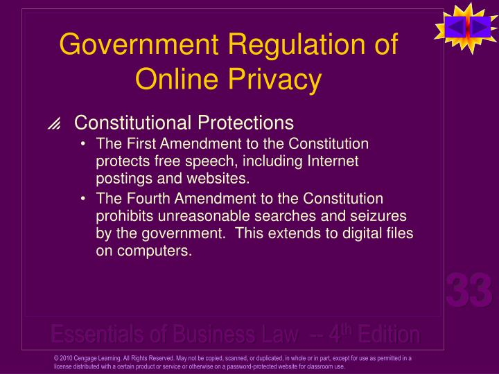 Government Regulation of Online Privacy