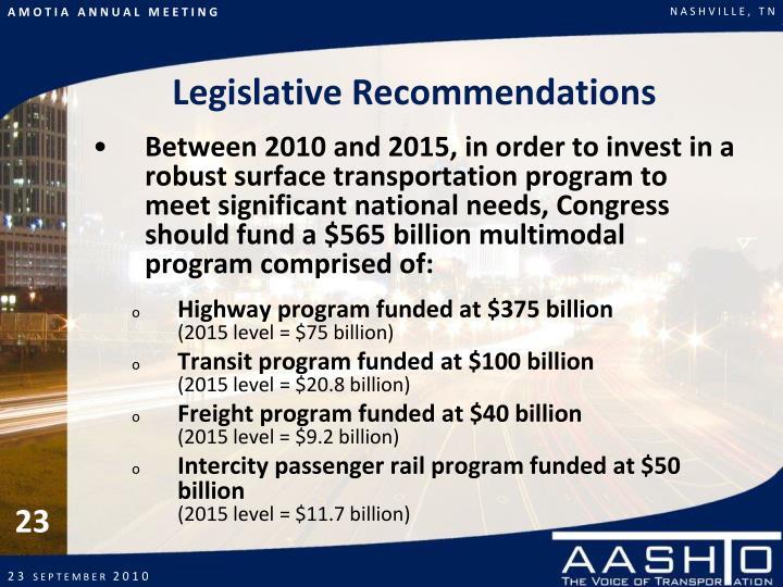 Legislative Recommendations