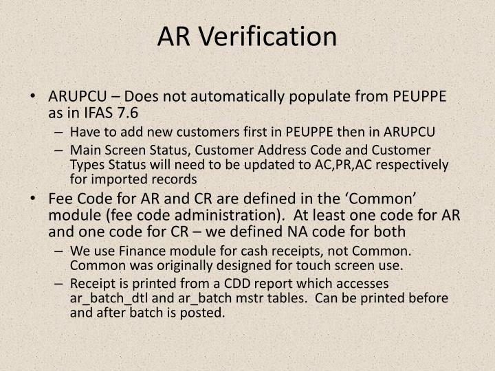 AR Verification