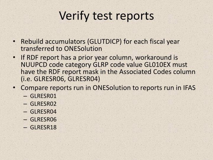 Verify test reports