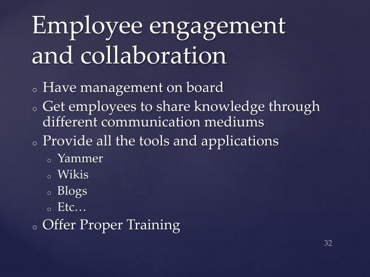 Employee engagement and collaboration