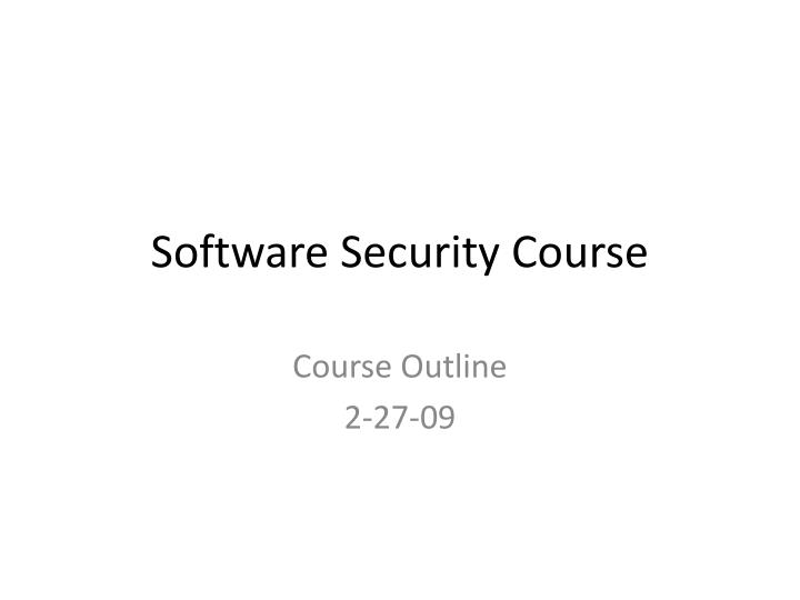 software security course n.