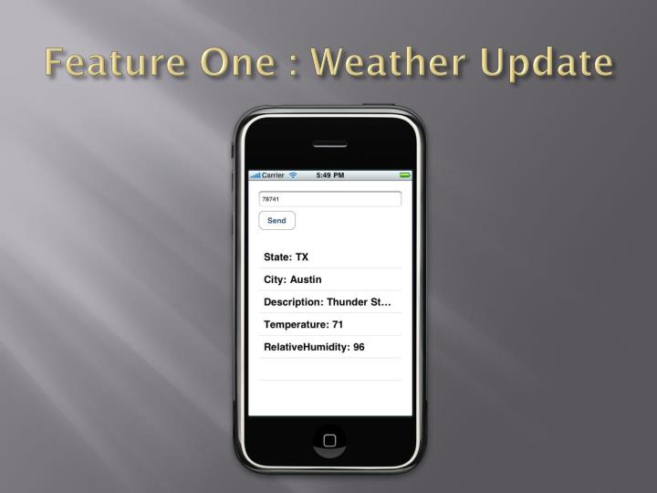 Feature One : Weather Update