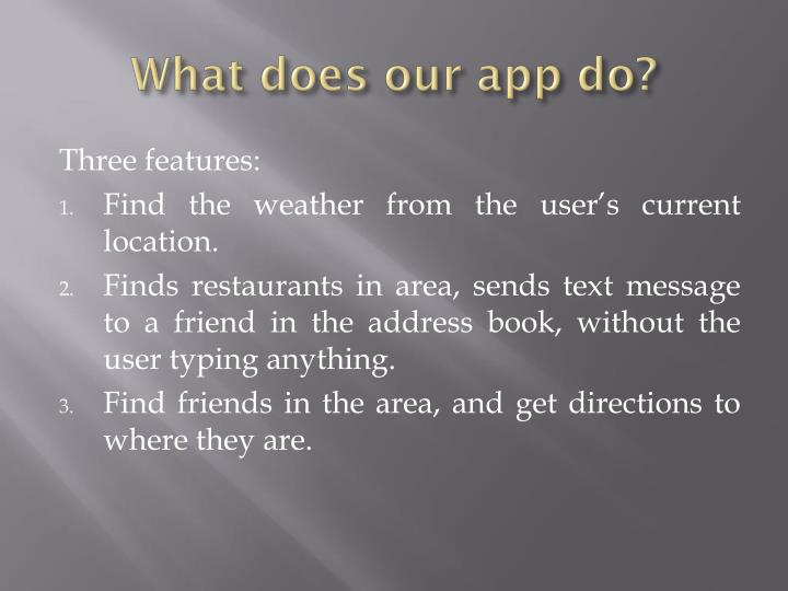 What does our app do?