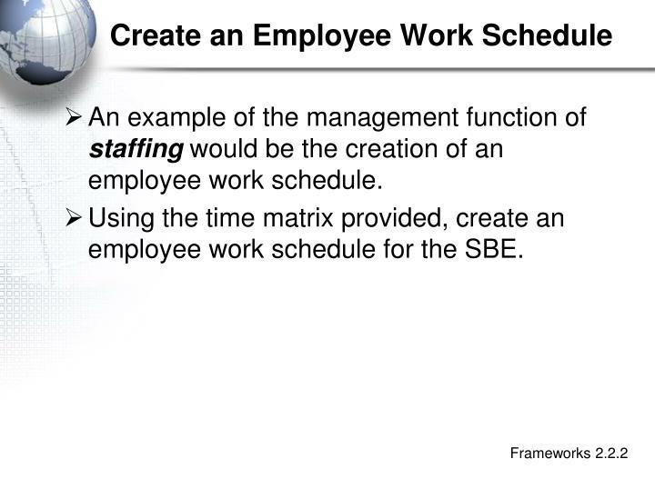 Create an Employee Work Schedule