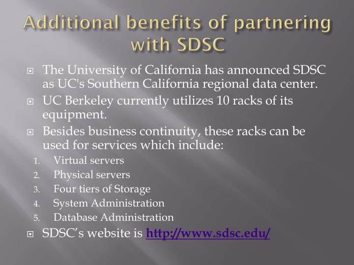 Additional benefits of partnering with SDSC