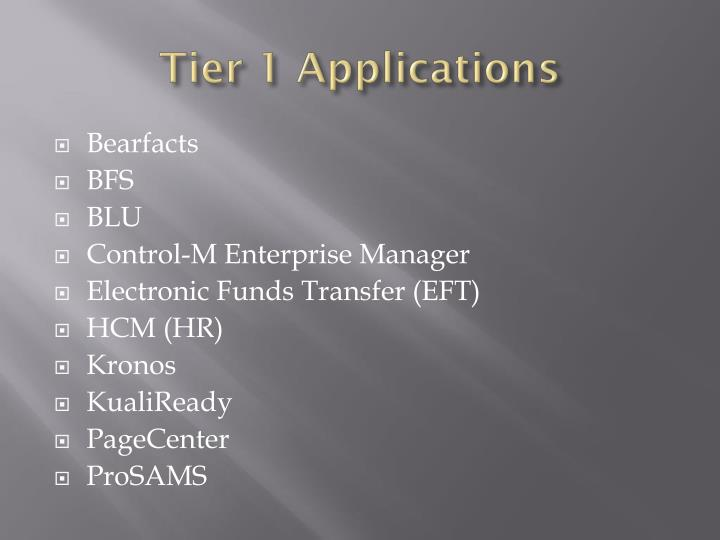 Tier 1 Applications