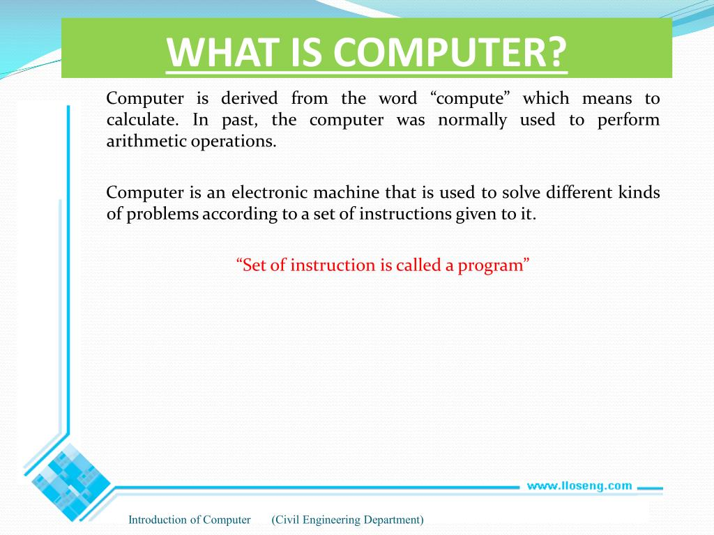 PPT - INTRODUCTION OF COMPUTER PowerPoint Presentation - ID