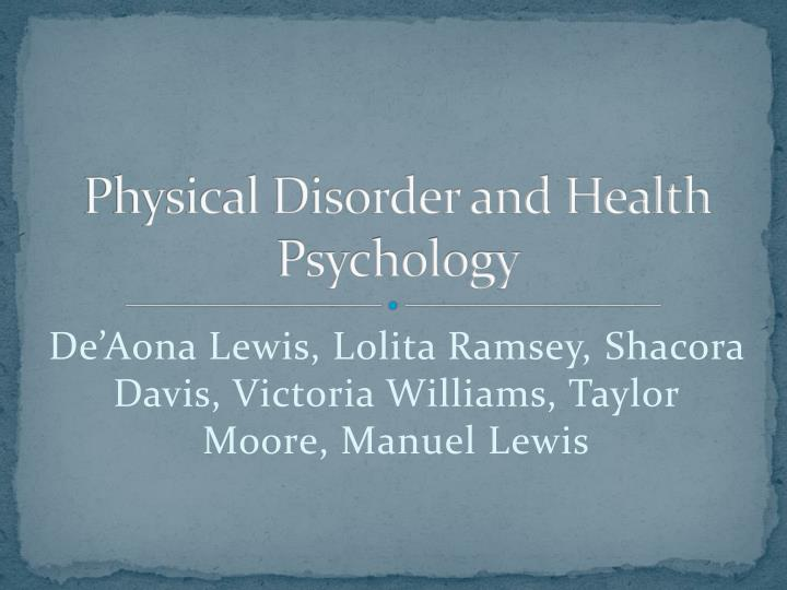 physical disorder and health psychology n.