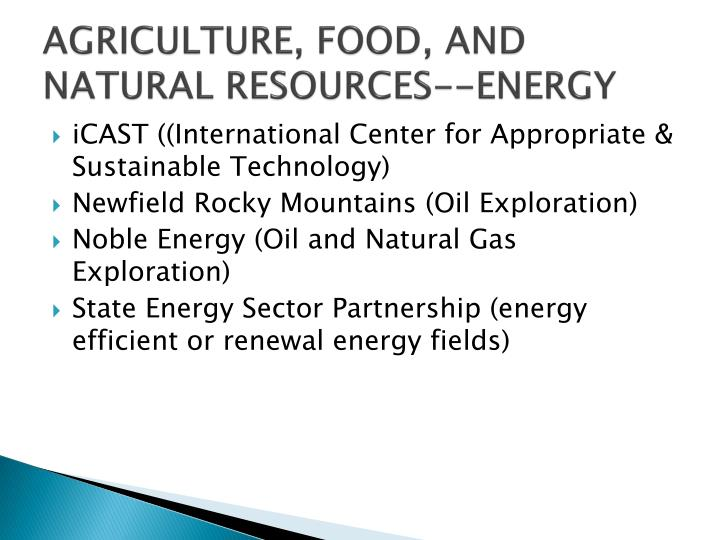 AGRICULTURE, FOOD, AND NATURAL RESOURCES--ENERGY