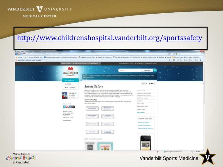 http://www.childrenshospital.vanderbilt.org/sportssafety