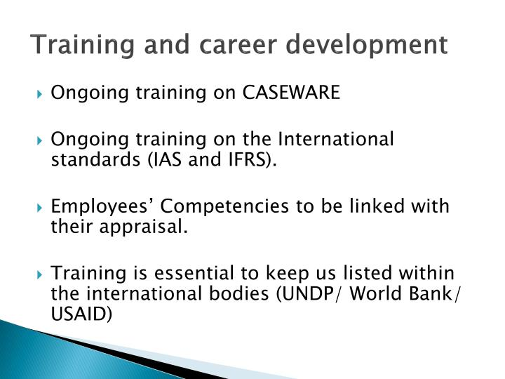 Training and career development1