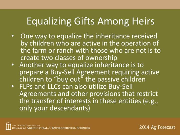 Equalizing Gifts Among Heirs