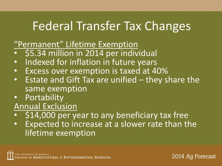 Federal Transfer Tax Changes