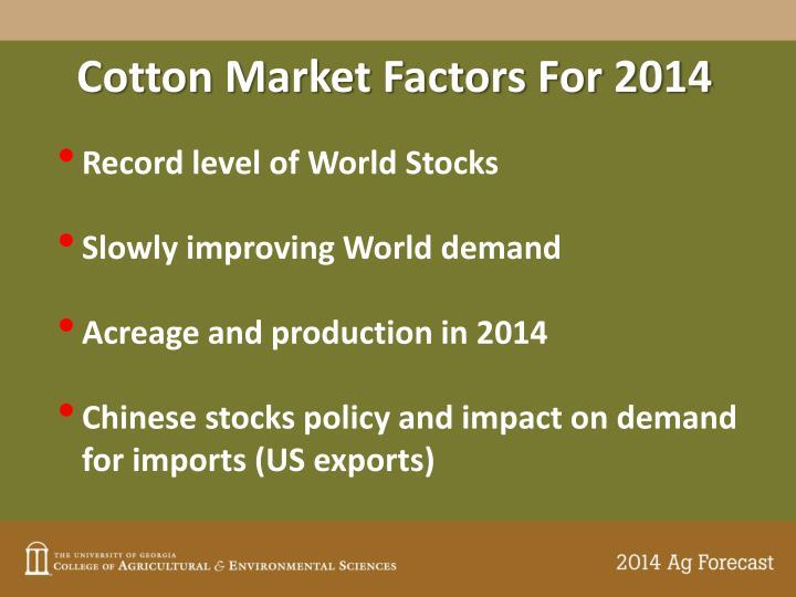Cotton Market Factors For 2014