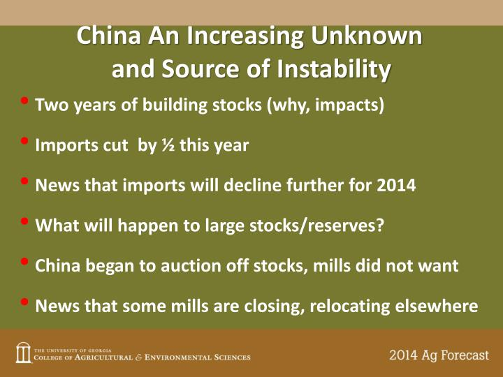 China An Increasing Unknown
