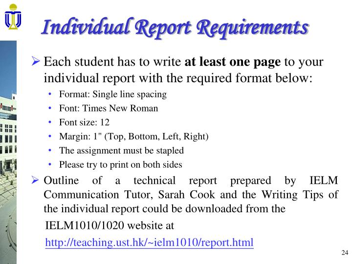 Group Report Requirements