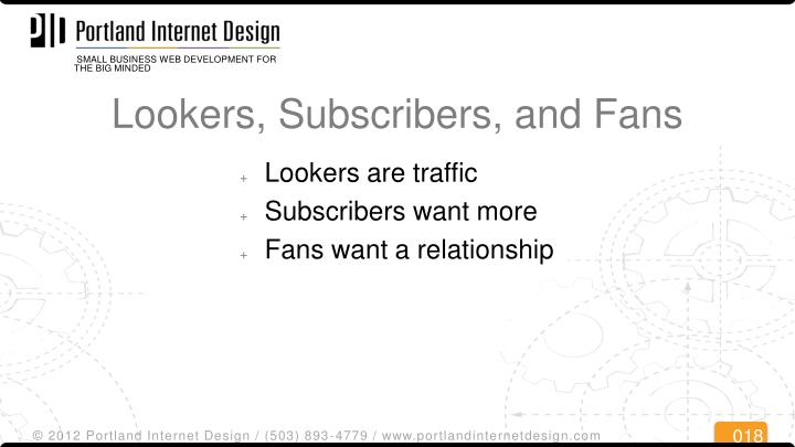 Lookers, Subscribers, and Fans