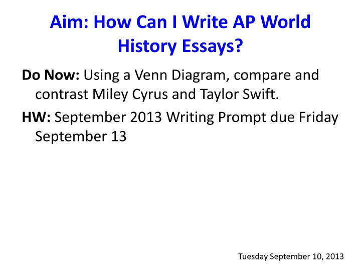 write thesis compare contrast essay ap world history How to write a dbq essay five parts: writing help analyzing the documents developing an argument drafting your essay revising your draft community q&a in the past, document based questions (dbq) were rarely found outside of ap history examshowever, they're now used in social studies classes across grade levels, so you're bound to take a dbq test at some point.