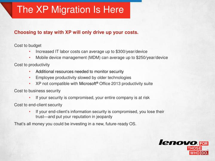 The xp migration is here