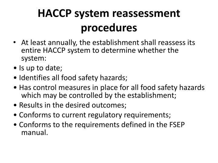 HACCP system reassessment procedures