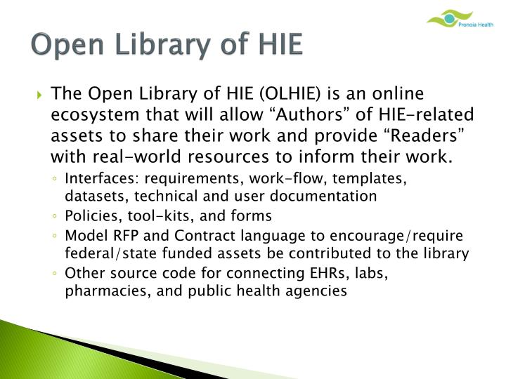 Open Library of HIE