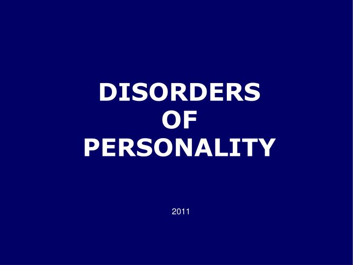 disorders of personality n.