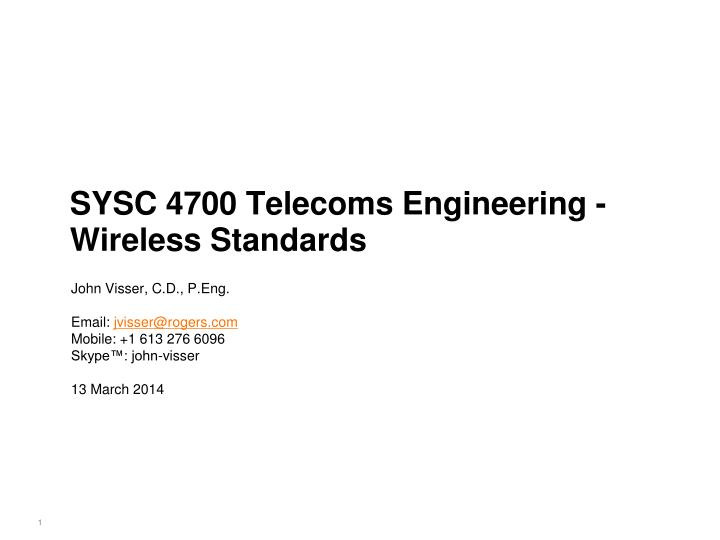 sysc 4700 telecoms engineering wireless standards n.