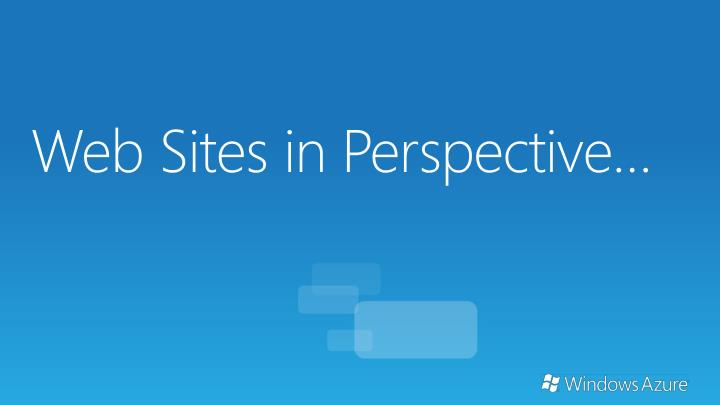 Web Sites in Perspective…