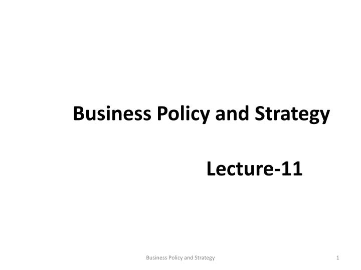 business policy and strategy n.