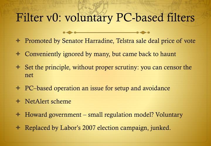 Filter v0: voluntary PC-based filters