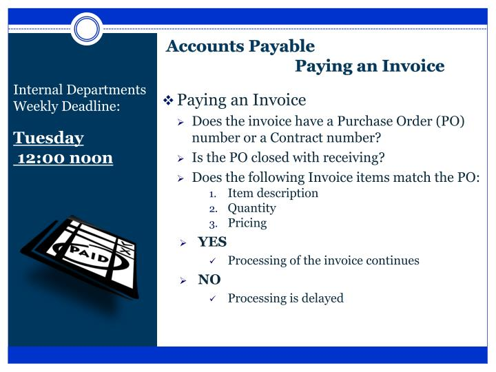 Accounts payable paying an invoice