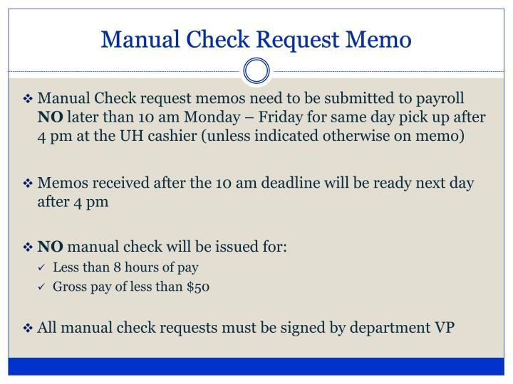Manual Check Request Memo