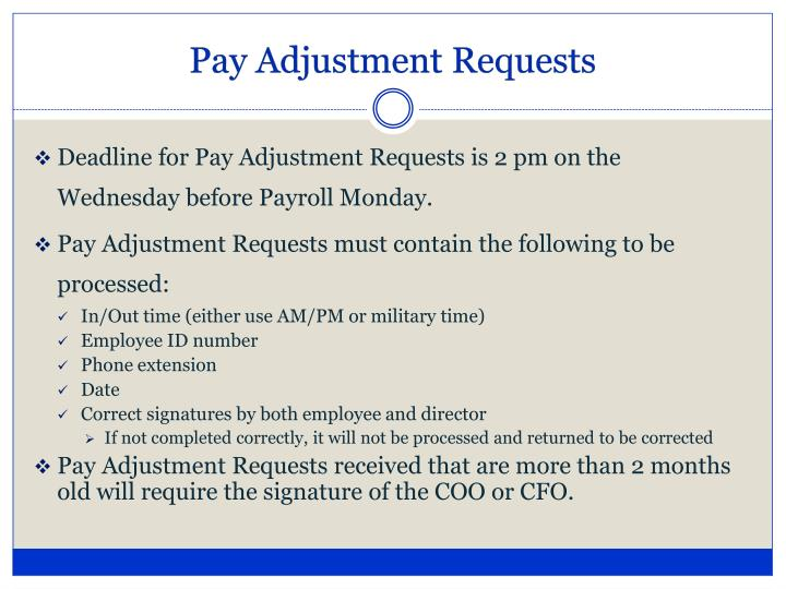 Pay Adjustment Requests