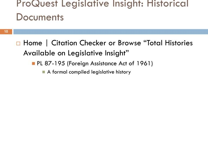 ProQuest Legislative Insight: Historical Documents