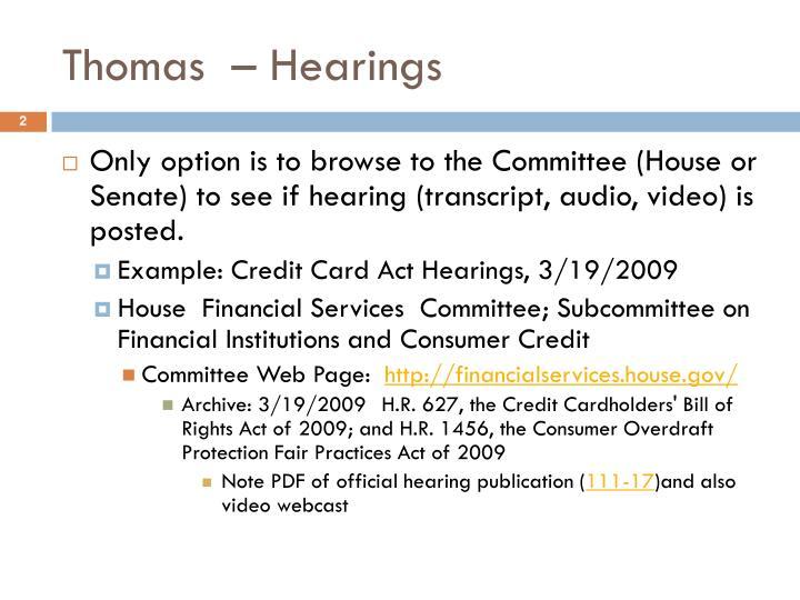 Thomas hearings