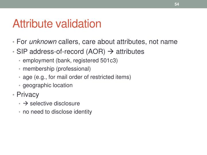 Attribute validation